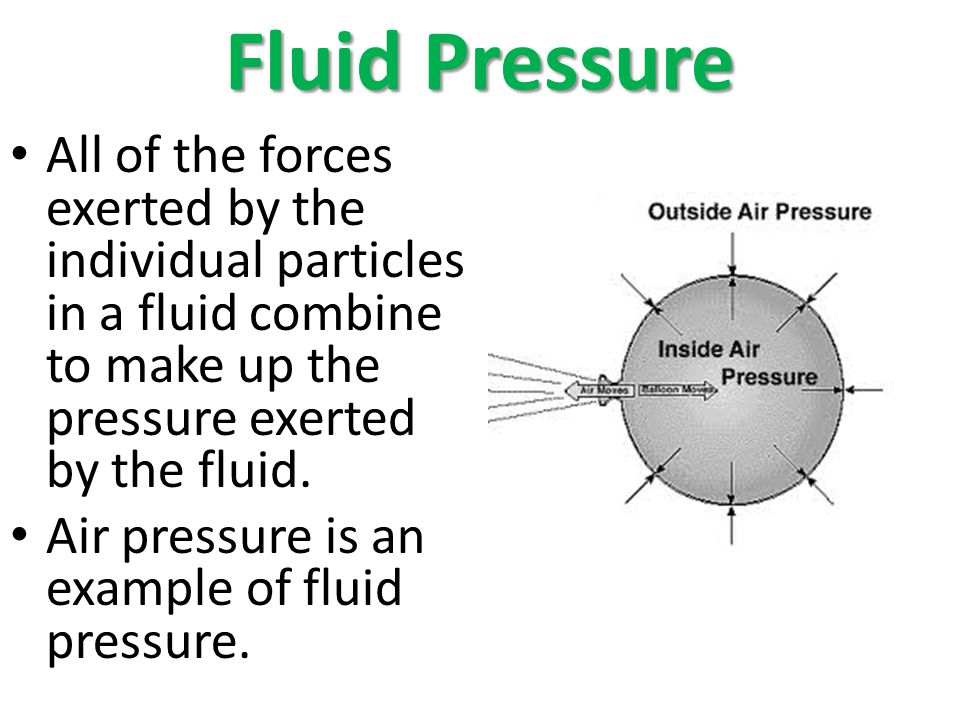 Fluid Pressure All of the forces exerted by the individual particles in a fluid combine to make up the pressure exerted by the fluid.