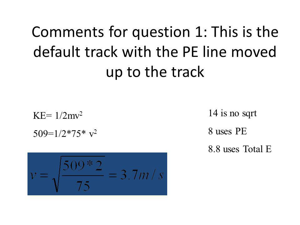 Comments for question 1: This is the default track with the PE line moved up to the track