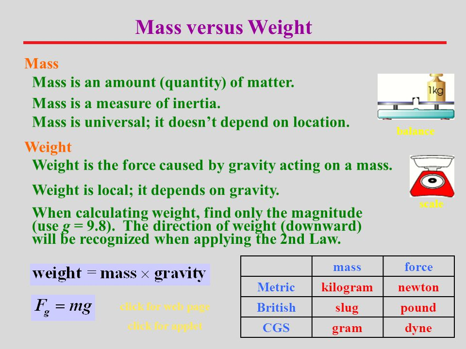 Mass versus Weight Mass Mass is an amount (quantity) of matter.