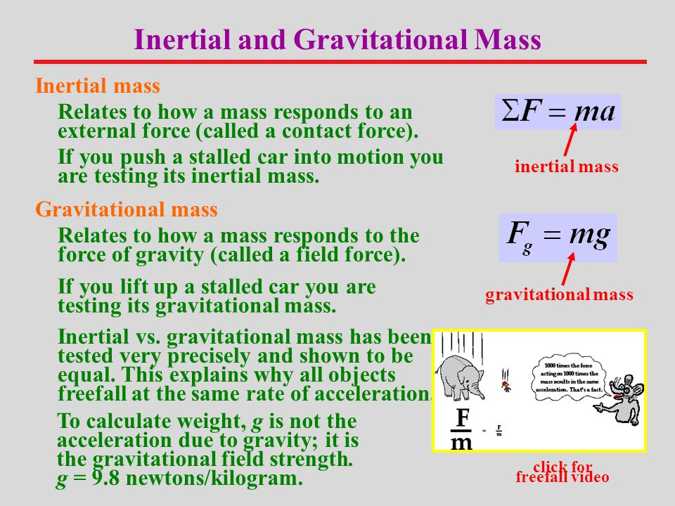 Inertial and Gravitational Mass click for freefall video