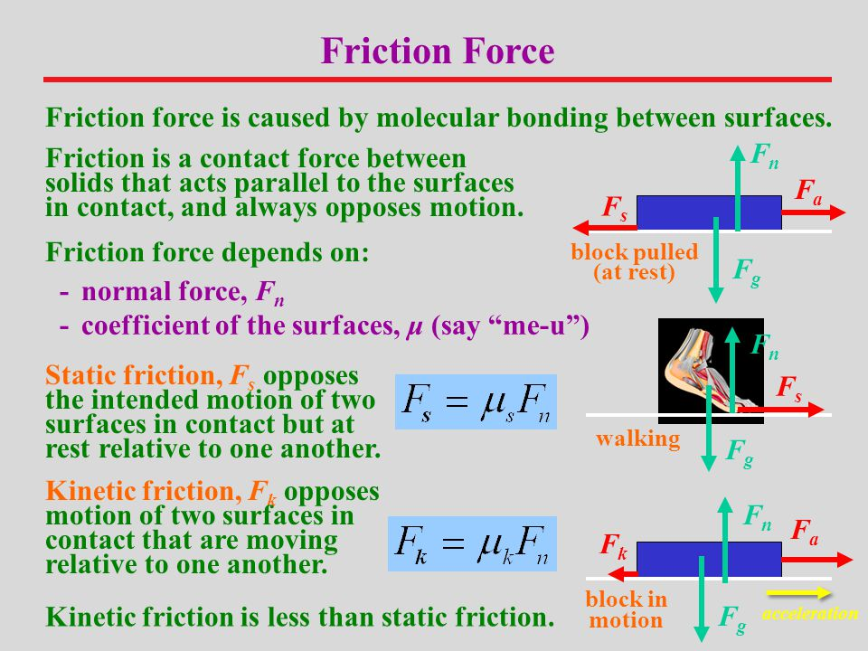 Friction Force Friction force is caused by molecular bonding between surfaces. Fn.