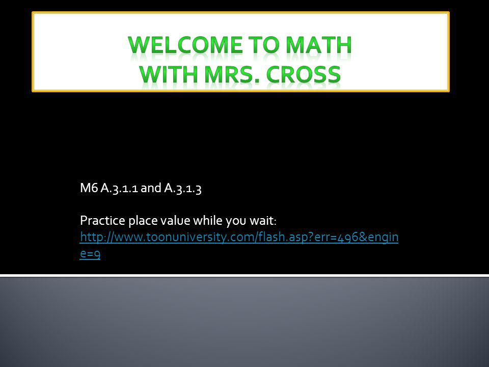 Welcome to Math with Mrs. Cross