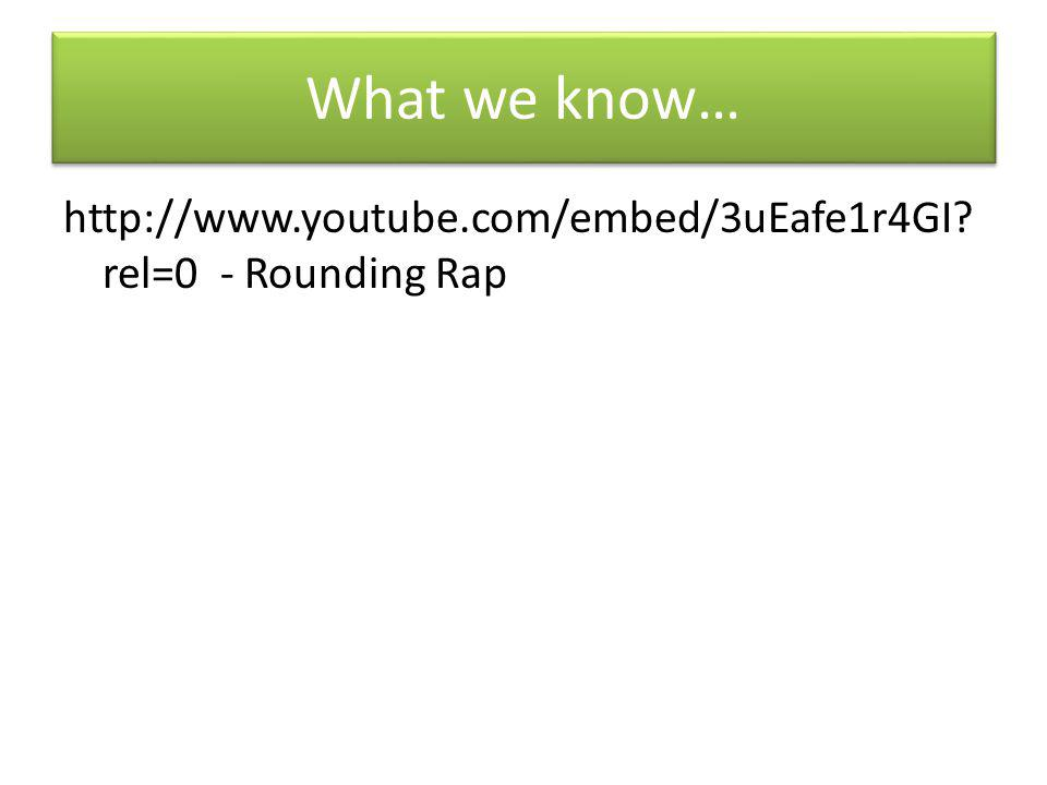What we know… http://www.youtube.com/embed/3uEafe1r4GI rel=0 - Rounding Rap