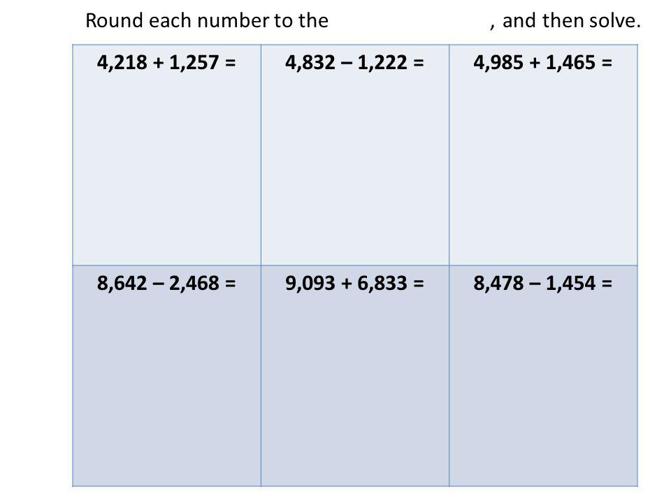 Round each number to the nearest thousand, and then solve.