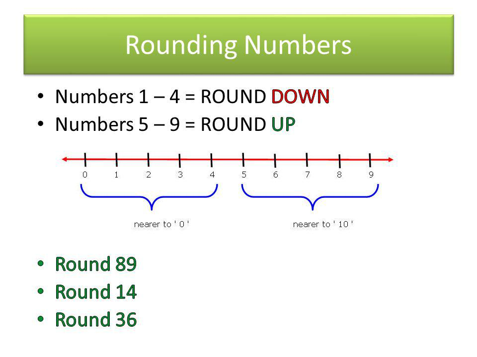 Rounding Numbers Numbers 1 – 4 = ROUND DOWN Numbers 5 – 9 = ROUND UP