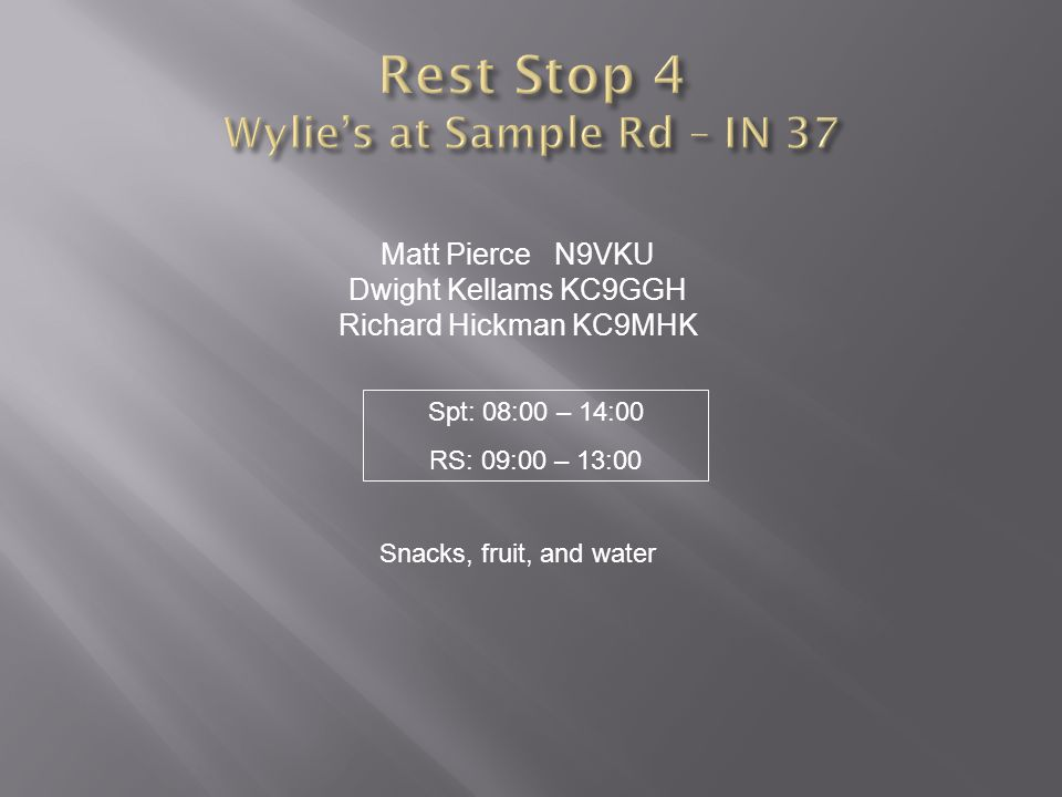 Rest Stop 4 Wylie's at Sample Rd – IN 37