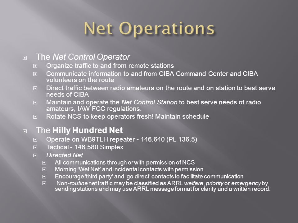 Net Operations The Net Control Operator The Hilly Hundred Net