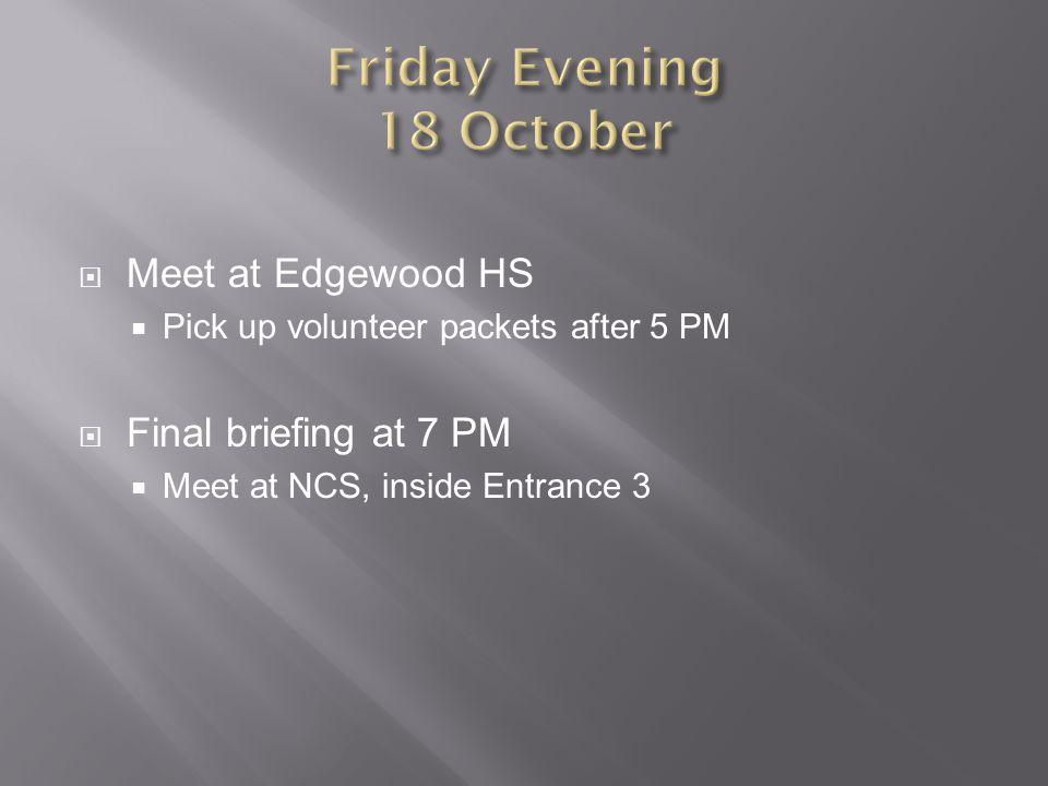 Friday Evening 18 October
