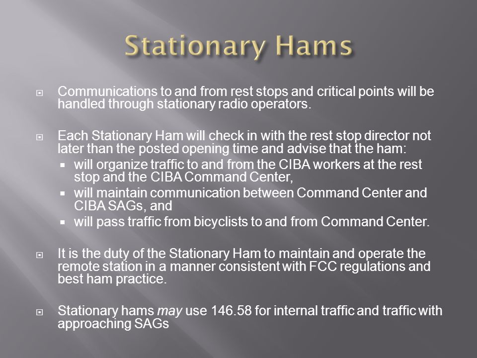 Stationary Hams Communications to and from rest stops and critical points will be handled through stationary radio operators.