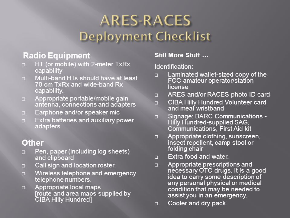 ARES-RACES Deployment Checklist