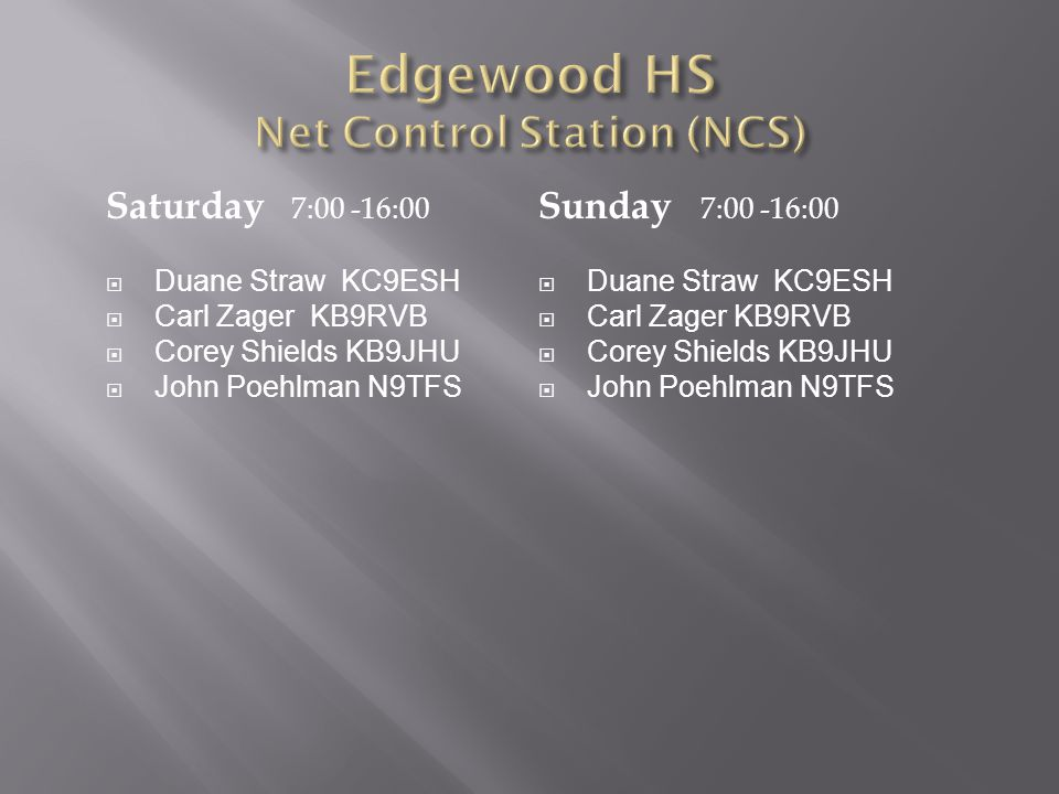 Edgewood HS Net Control Station (NCS)