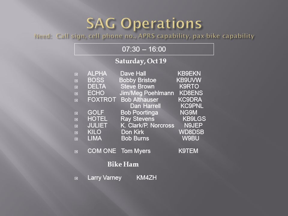SAG Operations Need: Call sign, cell phone no., APRS capability, pax-bike capability 07:30 – 16:00.
