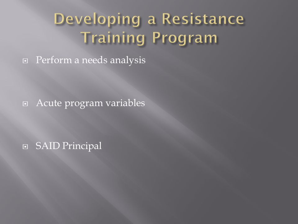 Developing a Resistance Training Program