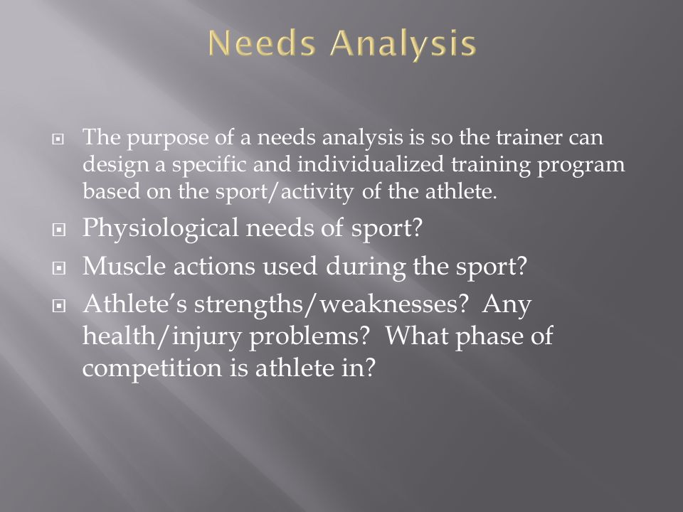 Needs Analysis Physiological needs of sport