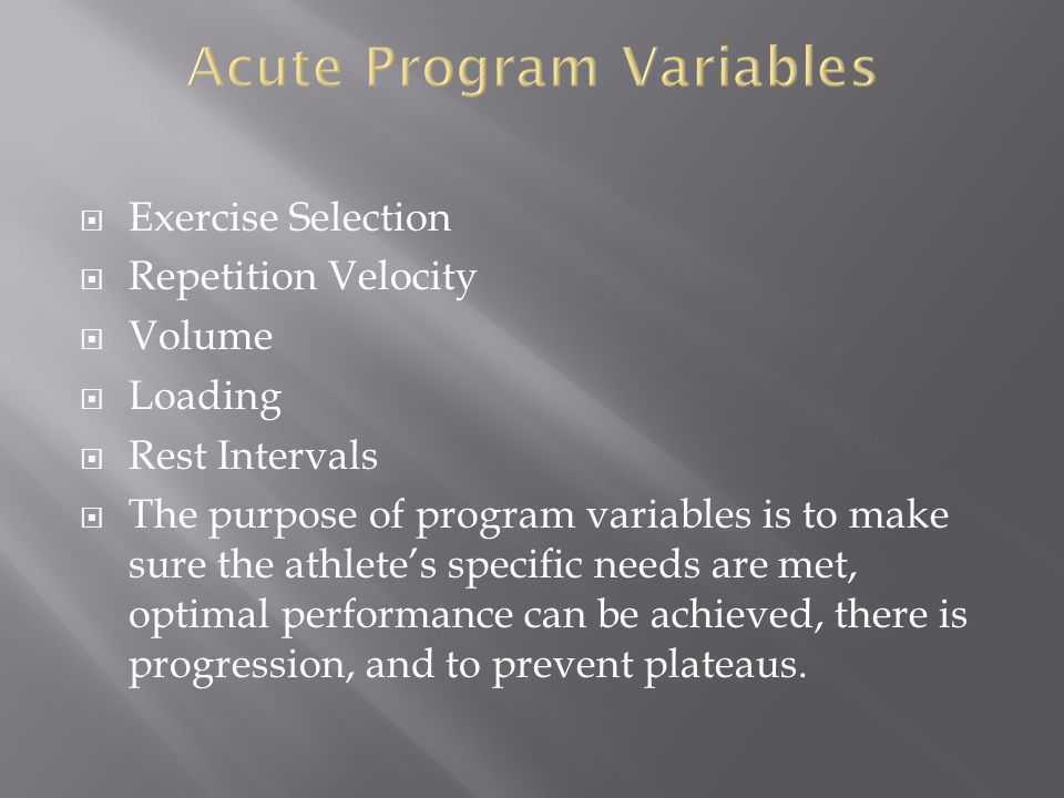 Acute Program Variables
