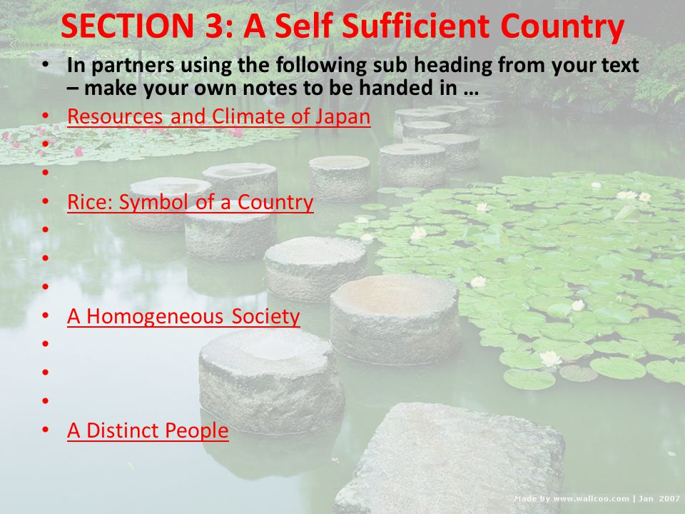 SECTION 3: A Self Sufficient Country
