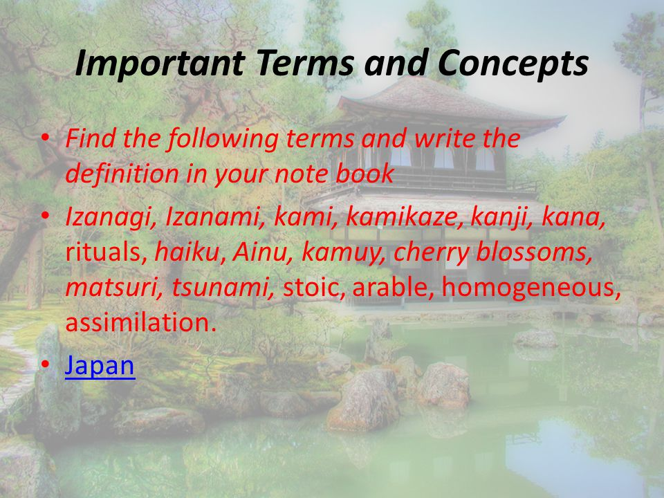 Important Terms and Concepts