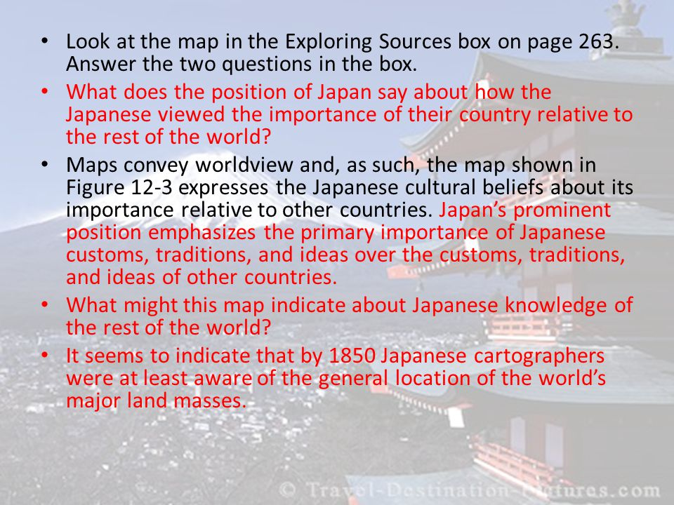 Look at the map in the Exploring Sources box on page 263