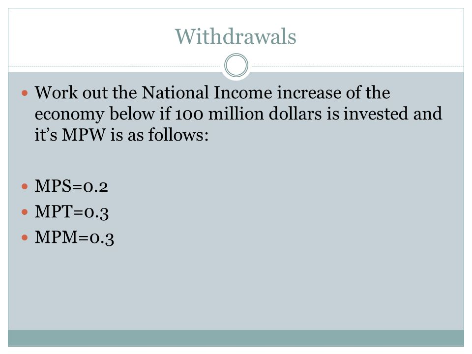 Withdrawals Work out the National Income increase of the economy below if 100 million dollars is invested and it's MPW is as follows: