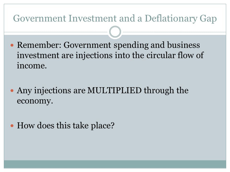 Government Investment and a Deflationary Gap