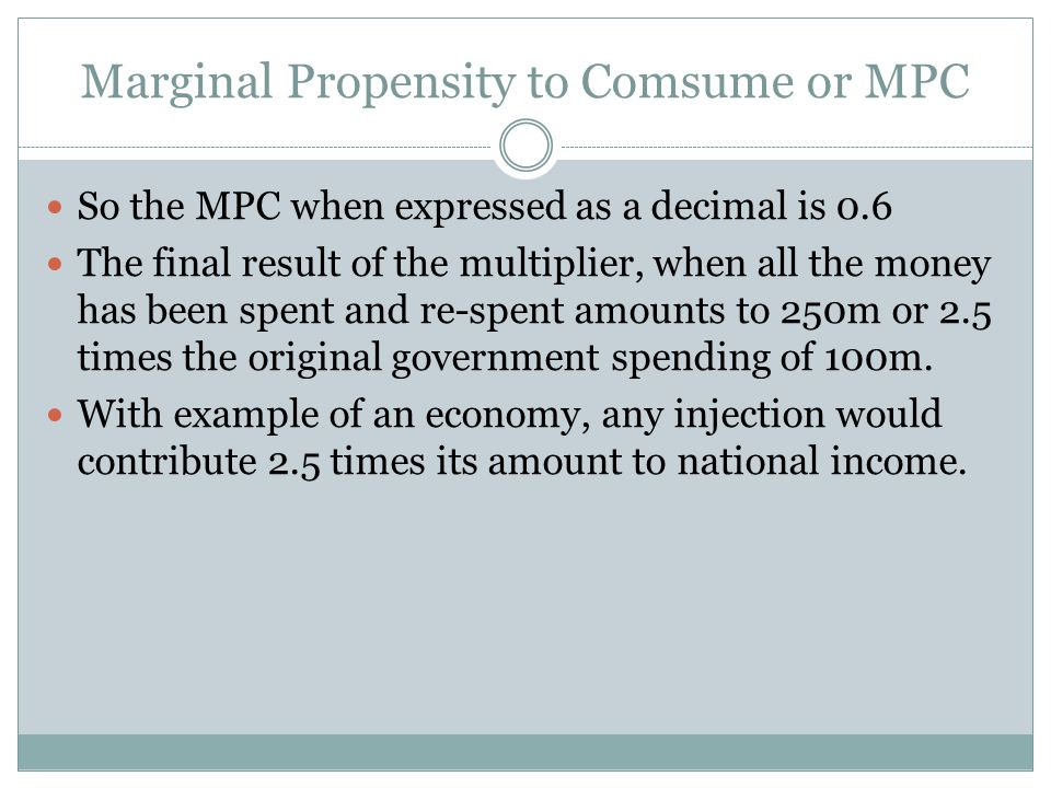 Marginal Propensity to Comsume or MPC