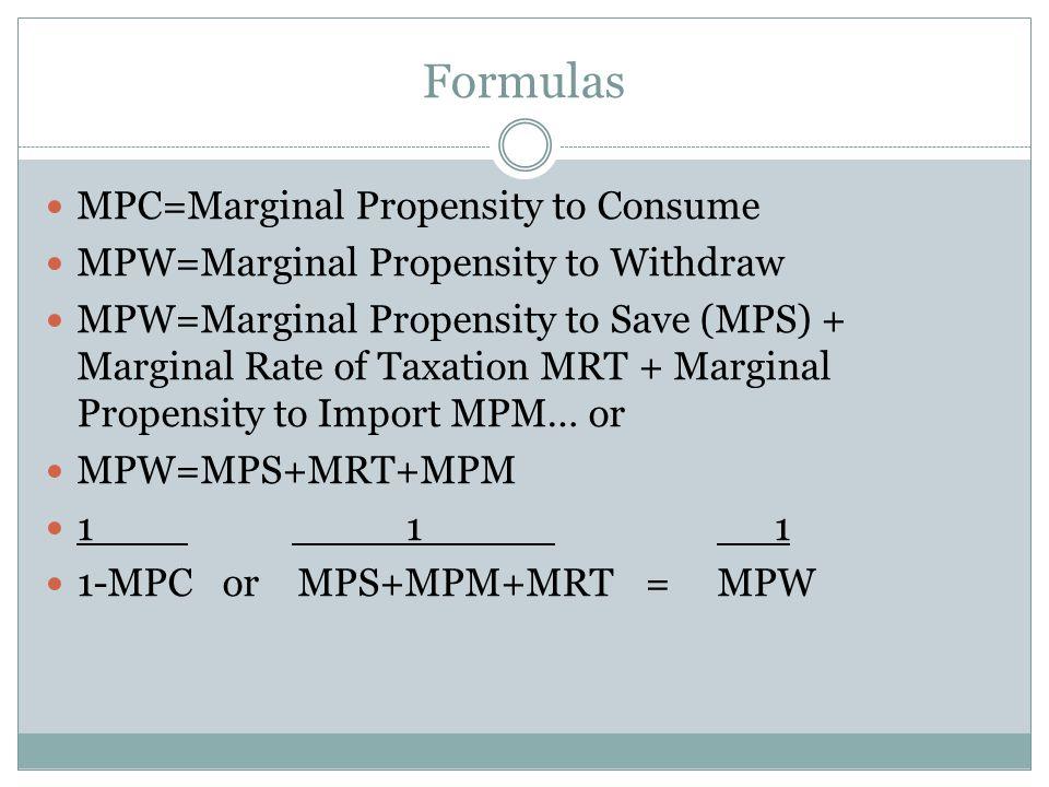Formulas MPC=Marginal Propensity to Consume