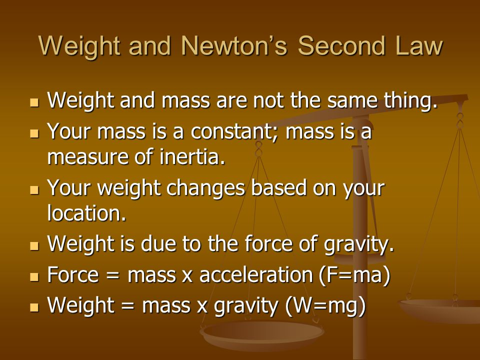 Weight and Newton's Second Law