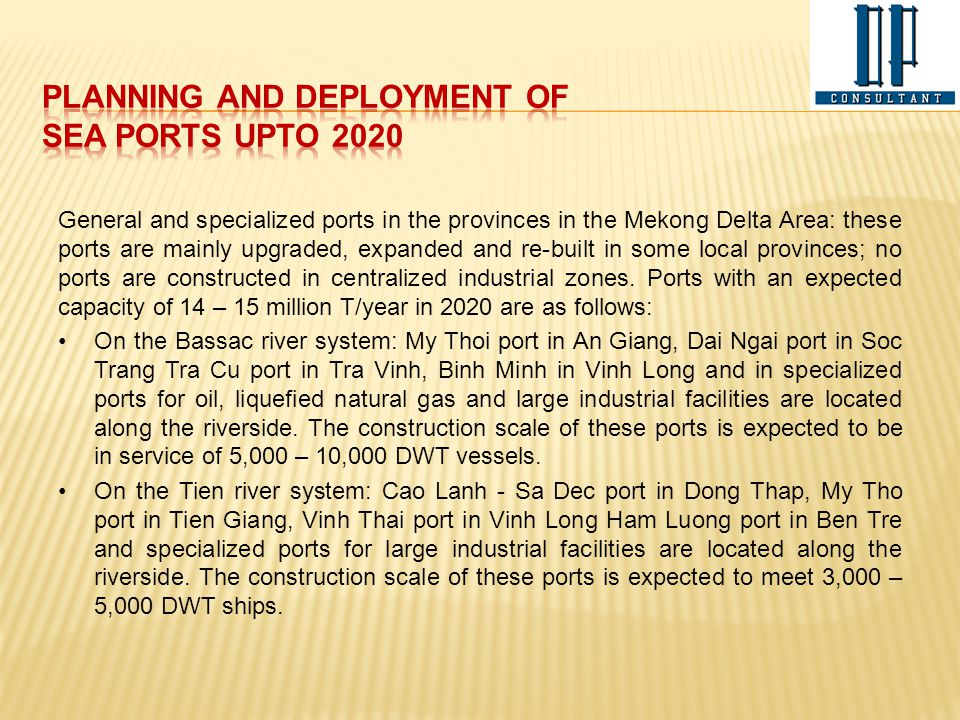 PLANNING AND DEPLOYMENT OF SEA PORTS UPTO 2020