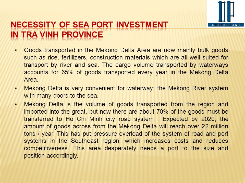 necessity of SEA PORT investment IN TRA VINH PROVINCE