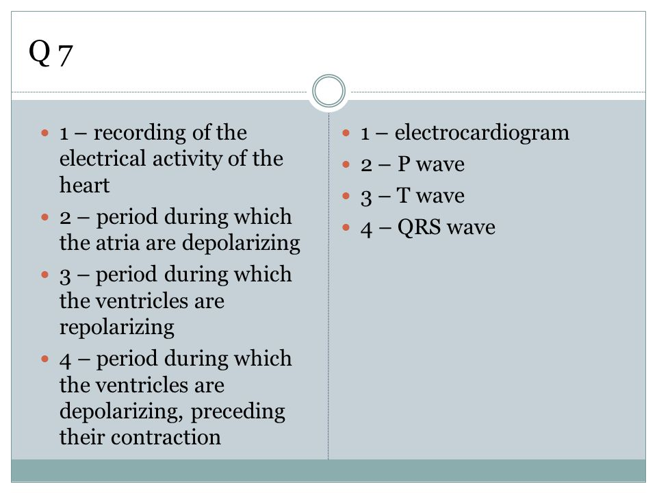 Q 7 1 – recording of the electrical activity of the heart