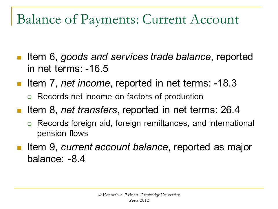 Balance of Payments: Current Account