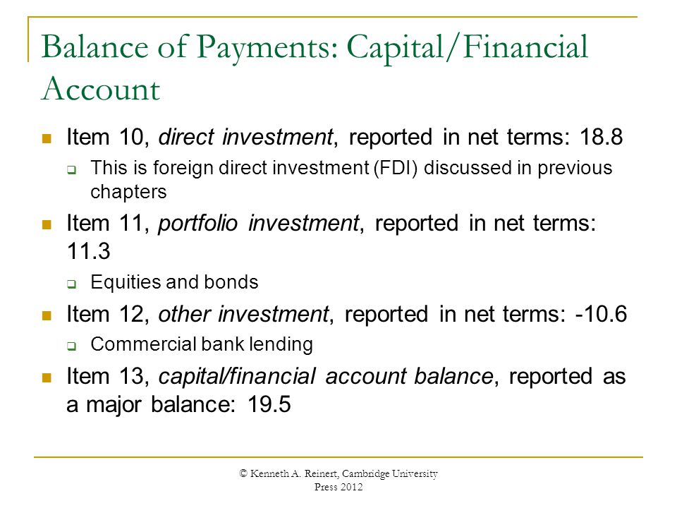 Balance of Payments: Capital/Financial Account