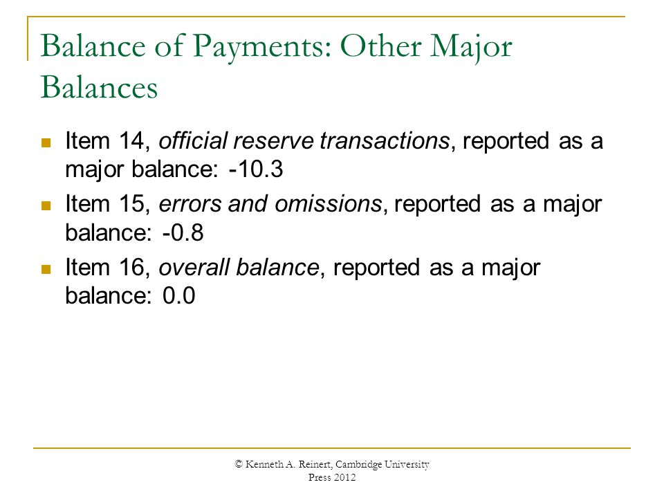 Balance of Payments: Other Major Balances