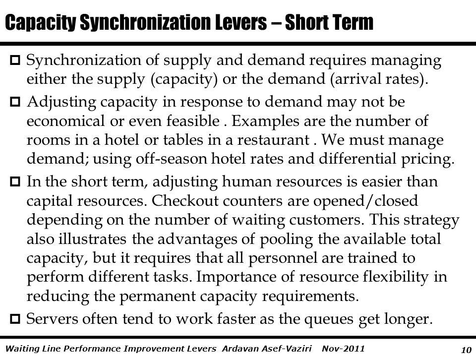 Capacity Synchronization Levers – Short Term