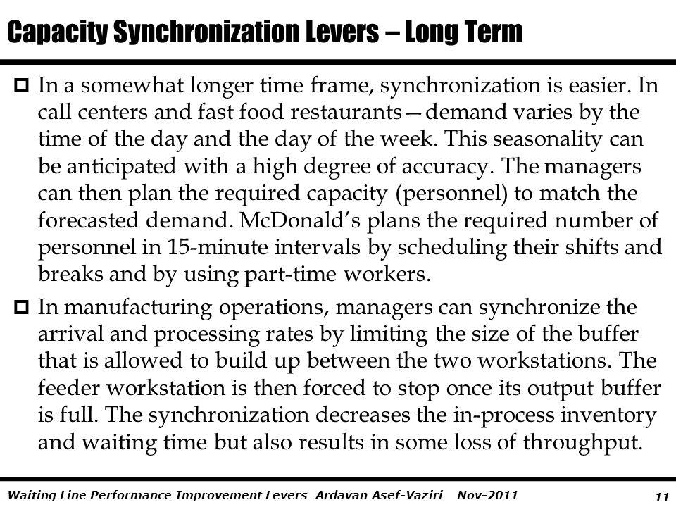 Capacity Synchronization Levers – Long Term