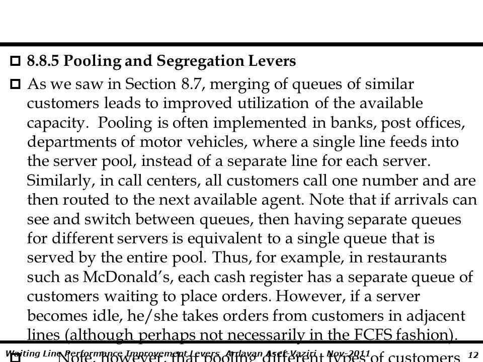 8.8.5 Pooling and Segregation Levers