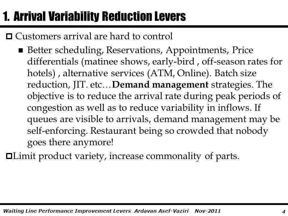 1. Arrival Variability Reduction Levers