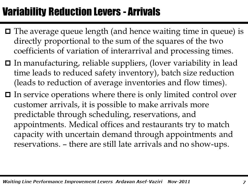 Variability Reduction Levers - Arrivals