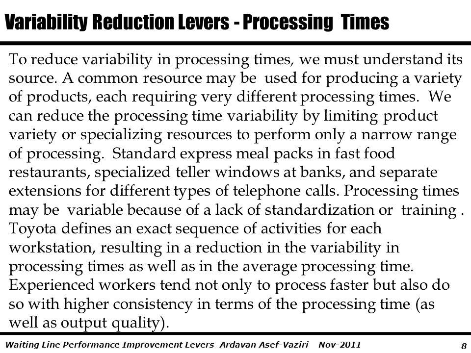Variability Reduction Levers - Processing Times