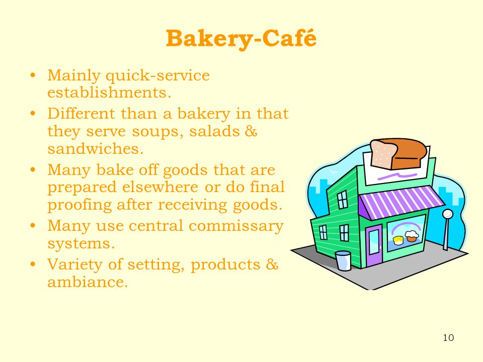 Bakery-Café Mainly quick-service establishments.