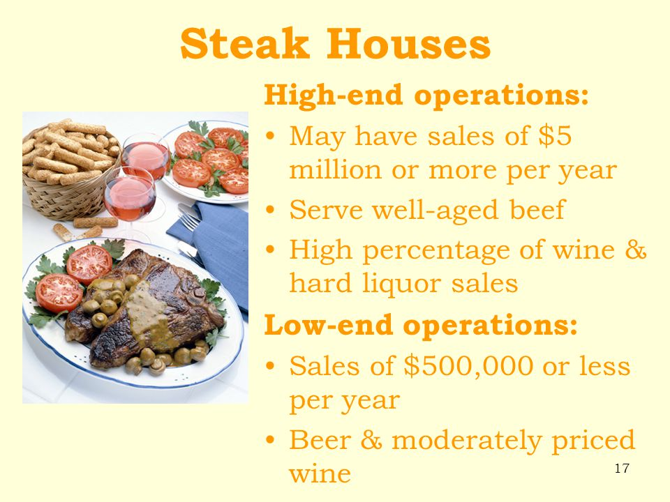 Steak Houses High-end operations: Low-end operations: