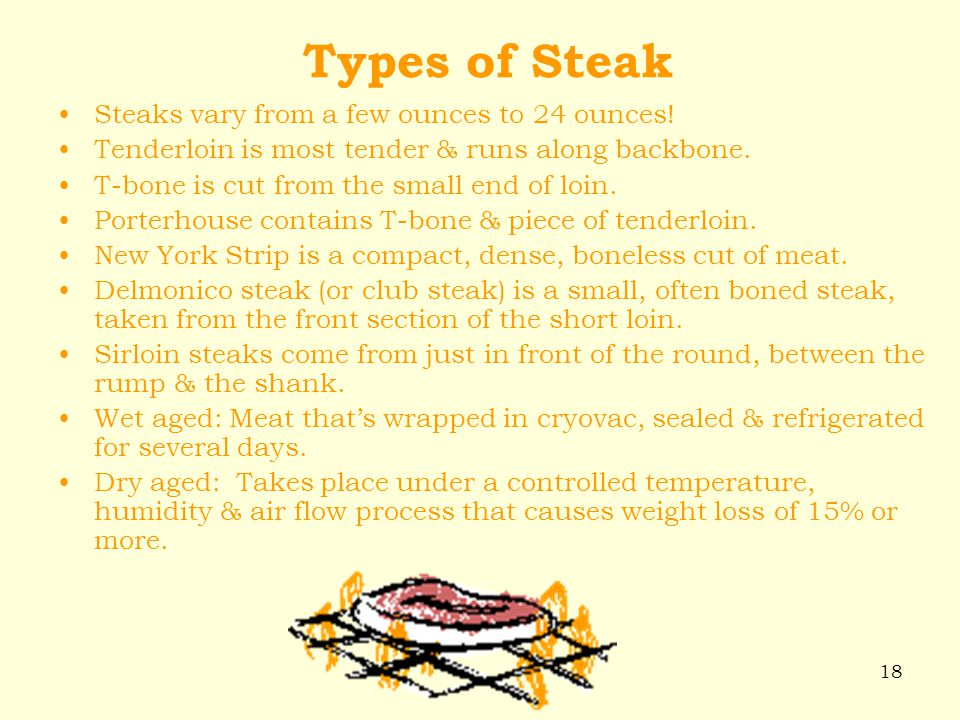 Types of Steak Steaks vary from a few ounces to 24 ounces!