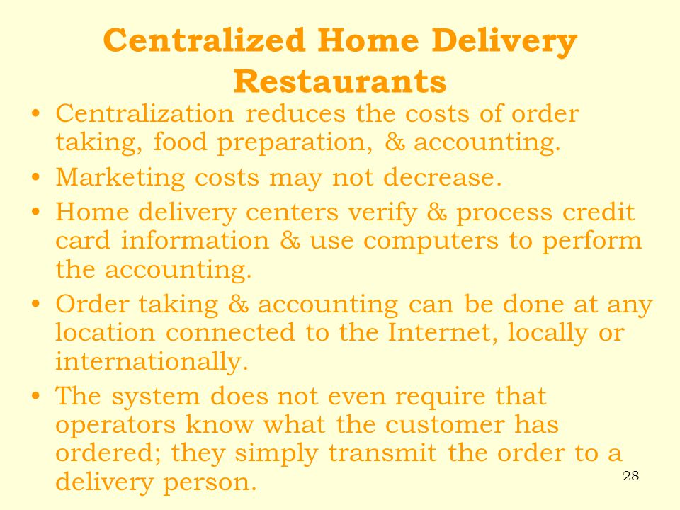 Centralized Home Delivery Restaurants