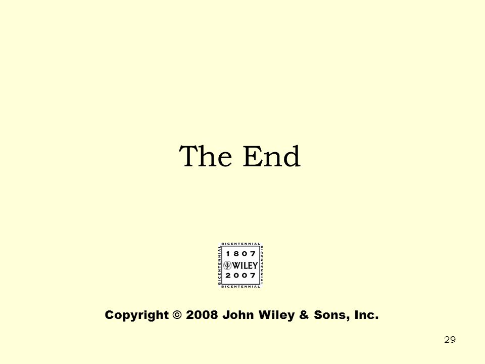 The End Copyright © 2008 John Wiley & Sons, Inc.
