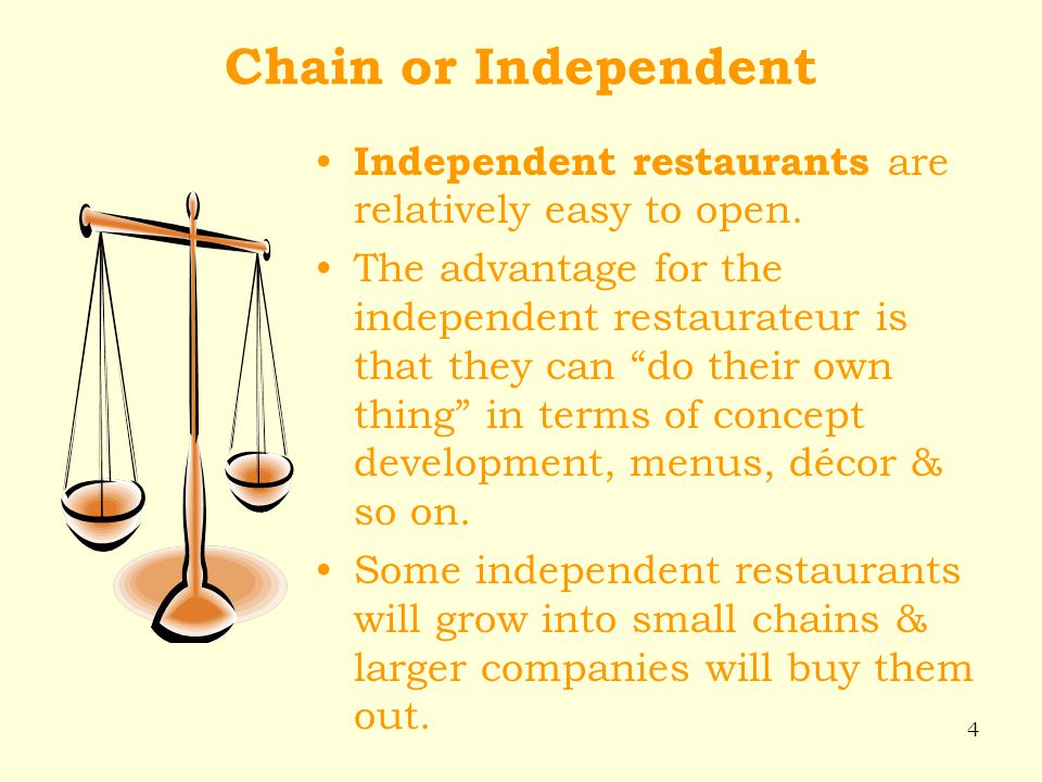 Chain or Independent Independent restaurants are relatively easy to open.