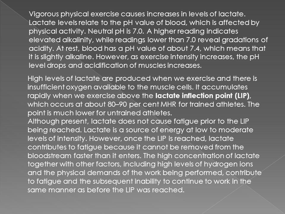 Vigorous physical exercise causes increases in levels of lactate