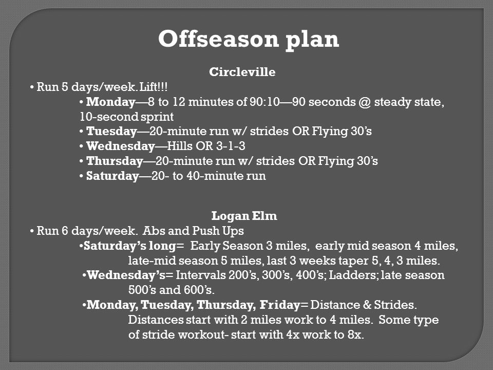 Offseason plan Circleville • Run 5 days/week. Lift!!!