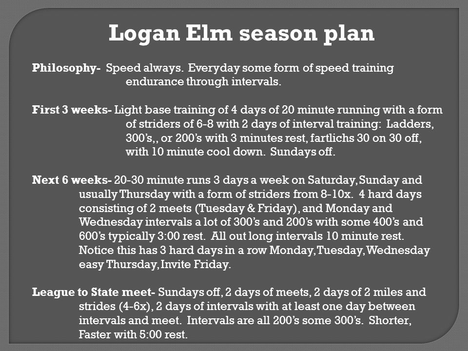 Logan Elm season plan Philosophy- Speed always. Everyday some form of speed training endurance through intervals.