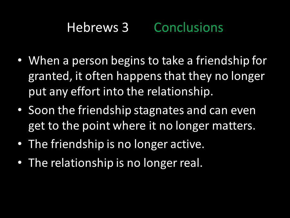 Hebrews 3 Conclusions
