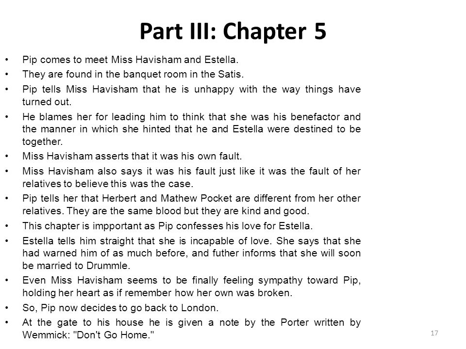 Part III: Chapter 5 Pip comes to meet Miss Havisham and Estella.
